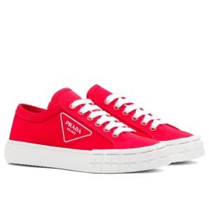 Prada Red Gabardine Fabric Sneakers