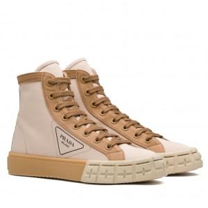 Prada Beige/Tan Gabardine High-top Sneakers