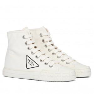 Prada White Cotton Canvas High-top Sneakers
