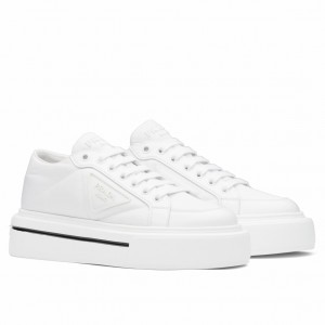 Prada Women's Macro Sneakers In White Re-Nylon And Leather