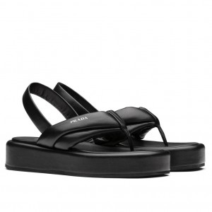 Prada Thong Flatform Sandals In Black Nappa Leather