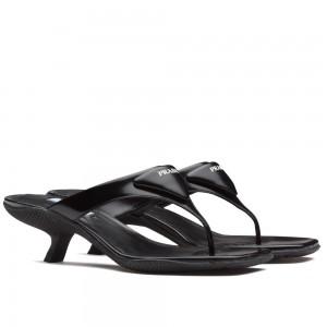 Prada High-heeled Thong Sandals In Black Brushed Leather