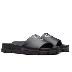 Prada Slide Sandals In Black Leather