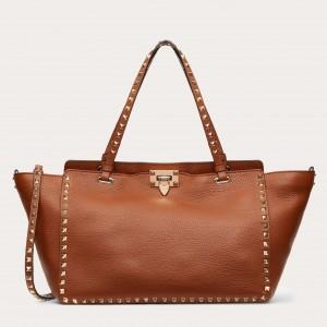 Valentino Medium Rockstud Tote Bag In Brown Grainy Calfskin