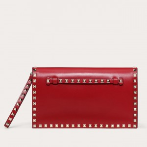 Valentino Medium Rockstud Clutch In Red Calfskin