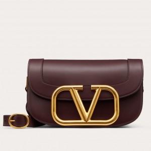 Valentino Supervee Crossbody Bag In Burgundy Leather