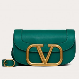 Valentino Supervee Crossbody Bag In Green Leather