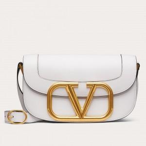 Valentino Supervee Crossbody Bag In White Leather