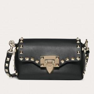 Valentino Mini Rockstud Crossbody Bag In Black Calfskin