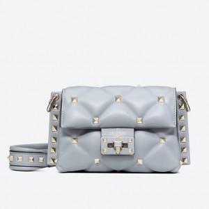 Valentino Mini Candystud Crossbody Bag In Pale Blue Lambskin