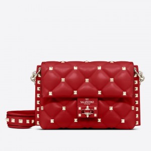 Valentino Small Candystud Crossbody Bag In Red Lambskin