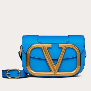 Valentino Small Supervee Crossbody Bag In Neon Blue Leather