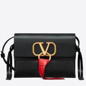 Valentino Small Vring Crossbody Bag In Black Calfskin