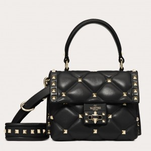 Valentino Candystud Mini Handbag In Black Lambskin