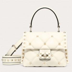 Valentino Candystud Mini Handbag In White Lambskin