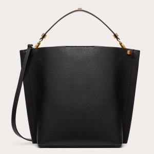 Valentino Escape Hobo Bag In Black Grained Calfskin