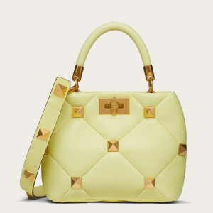 Valentino Small Roman Stud Top Handle Bag In Yellow Nappa
