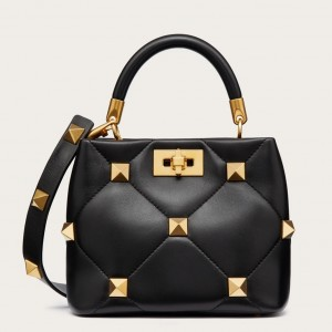 Valentino Small Roman Stud Top Handle Bag In Black Nappa