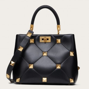 Valentino Roman Stud Top Handle Bag In Black Nappa