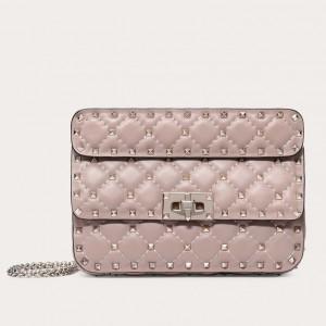 Valentino Rockstud Spike Small Bag In Poudre Lambskin
