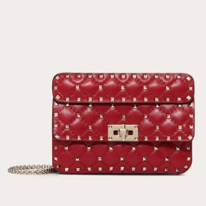 Valentino Rockstud Spike Small Bag In Red Lambskin
