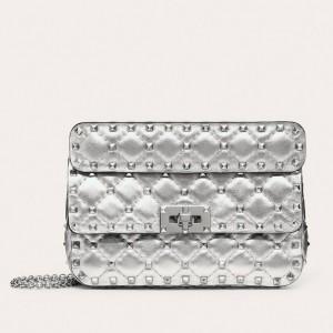 Valentino Rockstud Spike Small Bag In Silver Metallic Lambskin