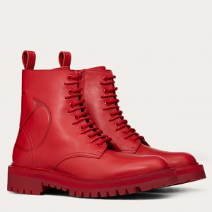 Valentino Garavani Red VLOGO Combat Boot 35 mm