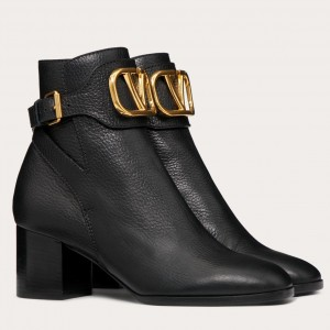 Valentino Vlogo Ankle Boot 60MM In Black Grainy Leather