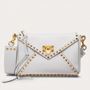 Valentino Rockstud Hype Bag In White Grained Calfskin