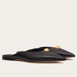 Valentino Roman Stud Flat Mules In Black Calfskin