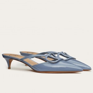 Valentino VLogo Mules 40mm In Blue Patent Leather