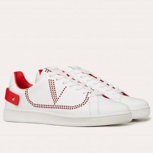 Valentino Men's Backnet VLOGO Sneakers With Red Heel