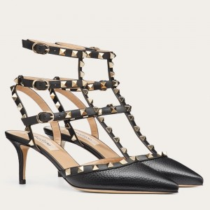 Valentino Rockstud Ankle Strap 65mm Pumps In Black Leather