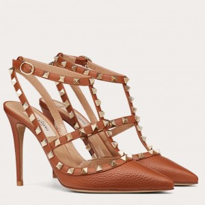 Valentino Rockstud Ankle Strap 100mm Pumps In Brown Leather