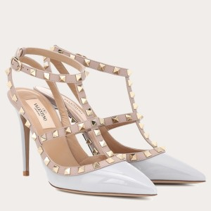 Valentino Rockstud Caged Pump 100mm In Pale Blue Patent Leather