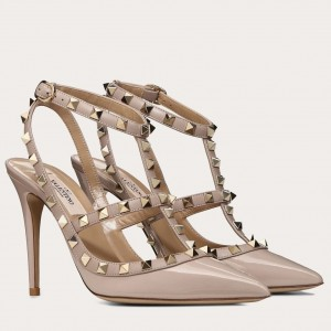 Valentino Rockstud Caged Pump 100mm In Powder Patent Leather