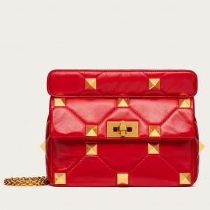 Valentino Medium Roman Stud Chain Bag In Red Nappa