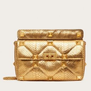 Valentino Large Roman Stud Chain Bag In Elaphe Skin