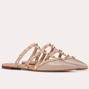 Valentino Rockstud Flat Mules In Poudre Patent Leather