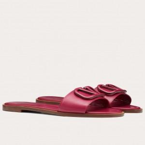 Valentino Vlogo Flat Slide Sandals In Red Calfskin