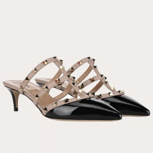 Valentino Rockstud Mules 50mm In Black Patent Leather