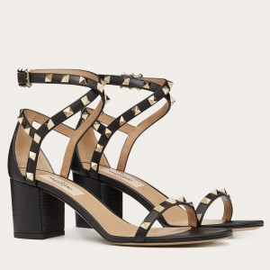 Valentino Rockstud Sandals 60mm In Black Calfskin