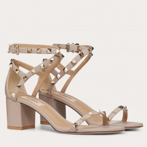 Valentino Rockstud Sandals 60mm In Poudre Calfskin
