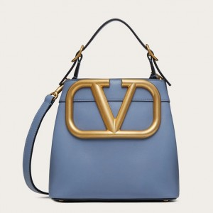 Valentino Supervee Top Handle Bag In Blue Calfskin
