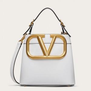 Valentino Supervee Top Handle Bag In White Calfskin