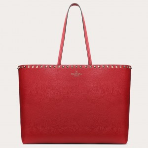 Valentino Rockstud Large Shopping Bag In Red Leather