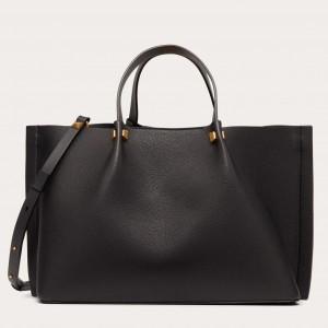 Valentino Vlogo Escape Medium Shopper In Black Grainy Calfskin