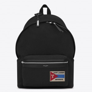 Saint Laurent Black City Backpack With Pocket Patch