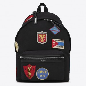 Saint Laurent Black City Backpack With Patches