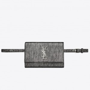 Saint Laurent Kate Belt Bag In Lame Leather